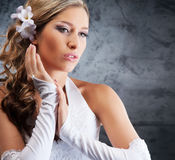 Portrait of a young blond woman in beautiful makeup Royalty Free Stock Images