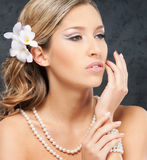 Portrait of a young blond woman in beautiful makeup Stock Image
