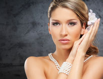 Portrait of a young blond woman in beautiful makeup Royalty Free Stock Photography