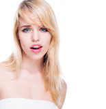 Portrait of Young Blond Woman with Blue Eyes Royalty Free Stock Image