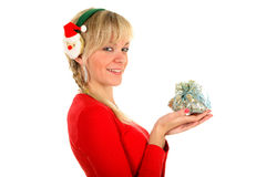 Portrait of a young blond woman with gift Stock Images