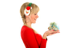 Portrait of a young blond woman with gift Stock Photo