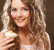 Portrait of young blond woman holding cafe latte cup Stock Images