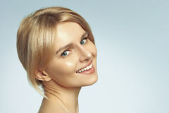 Portrait of the young blond woman stock photos
