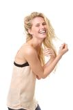 Portrait of a young blond woman laughing Royalty Free Stock Photo