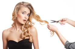 Blond beauty with amazing hair. royalty free stock image
