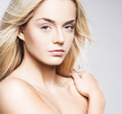 Portrait of a young blond woman in makeup Royalty Free Stock Photos