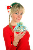 Portrait of a young blond woman which holds gift o Stock Images