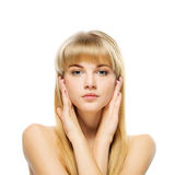 Portrait of young blonde against Stock Images