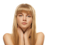 Portrait of young blonde against white background Stock Photos