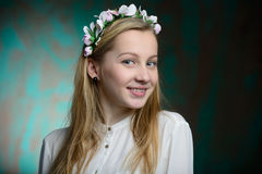 Portrait of a young blonde beautiful girl. In studio Royalty Free Stock Images