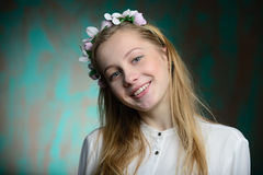 Portrait of a young blonde beautiful girl. In studio Stock Images