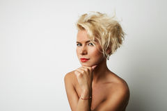 Portrait Young Blonde Head Female Perfect Skin Dreaming Something Interesting Copy Space Wall Your Business Information. Or Advertising Content, Smiling and royalty free stock images