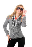 Portrait of young blonde in sunglasses Royalty Free Stock Images