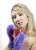 Portrait of the young blonde woman in fluffy mittens with a mug Stock Photos