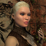 Portrait of young blonde woman with pony tail. 3D Rendering Portrait of young blonde woman with pony tail Stock Photo