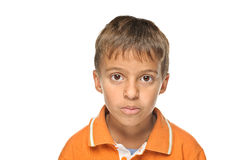 Portrait of young boy. Portrait of cute young preschool boy isolated on white background Royalty Free Stock Photos