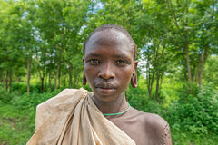 Portrait of a young boy from the african tribe Suri Royalty Free Stock Photography