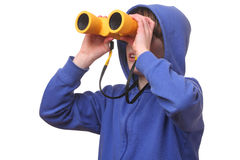 Boy with binoculars Stock Photography