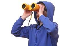 Boy with binoculars Stock Photography