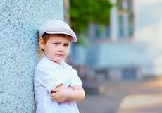 Portrait of young boy, countryside stock photography