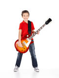Portrait of young boy with a electric guitar Stock Photos
