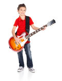 Portrait of young boy with a electric guitar Royalty Free Stock Images