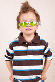 Portrait of  young boy in green glasses Royalty Free Stock Photo