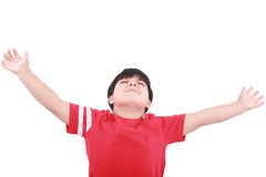 Portrait of the young boy holding hands up Stock Photography
