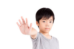 Portrait of a young boy making stop gesture Stock Images