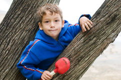 Portrait of a young boy outdoors. Child peeking out between two trees Royalty Free Stock Photography