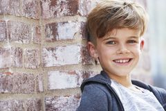Portrait of a young boy, outside Stock Photo