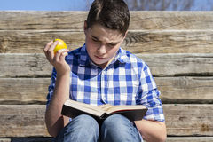 Portrait.Young boy reading a book in wooden stairs, summer Royalty Free Stock Photo