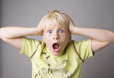 Portrait of a young boy shouting Royalty Free Stock Image
