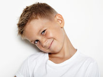 Portrait of young boy showing some emotions Stock Image