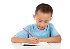 Portrait of young boy studying against white Royalty Free Stock Image
