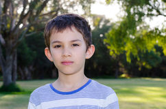 Portrait young boy thoughtful look Stock Image