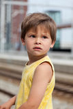 Portrait of young boy at train station Stock Photography