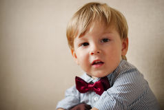 Portrait of Young Boy Wearing Bow Tie Stock Images