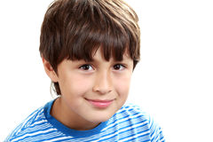Portrait of young boy on white background Royalty Free Stock Image
