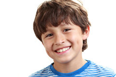 Portrait of young boy on white background royalty free stock photos