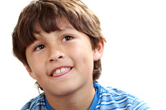 Portrait of young boy on white background Royalty Free Stock Images