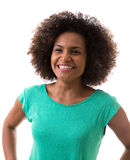 Portrait of Young Brazilian woman smiling on white background Stock Photography