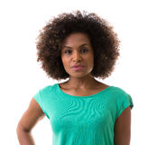 Portrait of Young Brazilian woman on white background Royalty Free Stock Photography