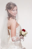 Portrait of the young bride. In studio stock images