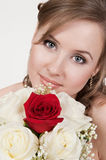Portrait of the young bride. In studio royalty free stock photos