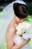 Portrait Of Young Bride With Bouquet Royalty Free Stock Images