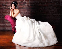 Portrait of a Young Bride Getting Married Stock Images