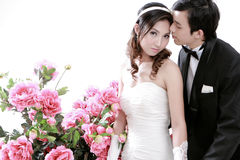 Portrait of young bride and groom Royalty Free Stock Photo