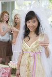 Portrait Of Young Bride Holding Champagne Flute Stock Image
